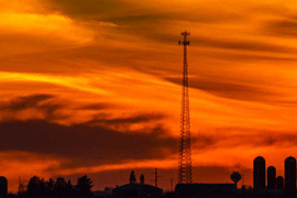 tower with dark silhouette with sunset